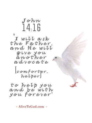 John 14:16 'I will ask the Father, and He will give you another advocate (comforter, helper) to help you and be with you forever'